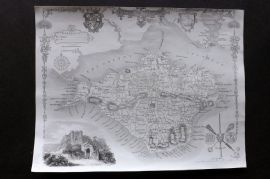 Thomas Moule C1838 Antique Map. Isle of Wight